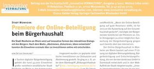Prämiere der Online-Beteiligung beim Bürgerhaushalt