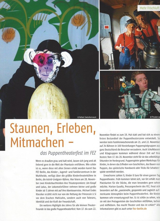 Staunen, Erleben, Mitmachen - das Puppentheaterfest im FEZ