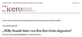 """""""Willy Brandt hätte von Rot-Rot abgeraten"""""""