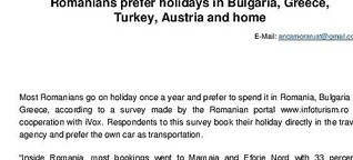 Romanians prefer holidays in Bulgary, Greece, Turkey, Austria and home