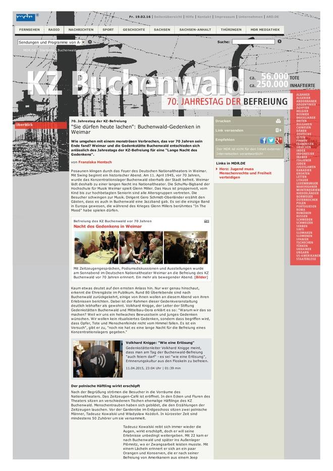 Online-Projekt: Kriegsende in Thüringen