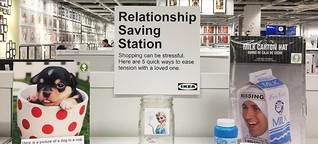 Comedian plants 'relationship saving station' in California IKEA