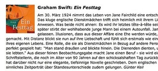"Rezension von Graham Swifts ""Festtag"""