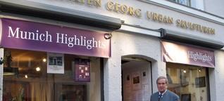 Georg Urban und sein Laden. Das Haus ist derzeit eingerüstet. - Abendzeitung München [1]