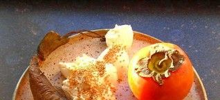 ☕ Rezept: Khaki, geräucherte Forelle, Trockenfeigen, Senfkörner, Lorbeerblatt mit Frischkäse