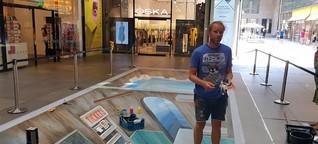 München: Street artist Leon Keer in den Fünf Höfen