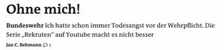 Bundeswehr - Ohne mich!