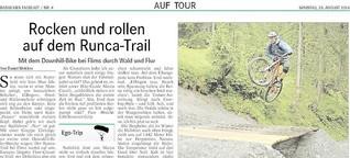 Rocken und rollen auf dem Runca-Trail
