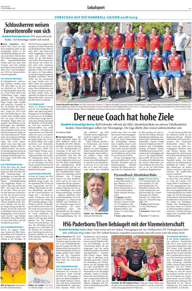 Saisonvorschau Handball 2018