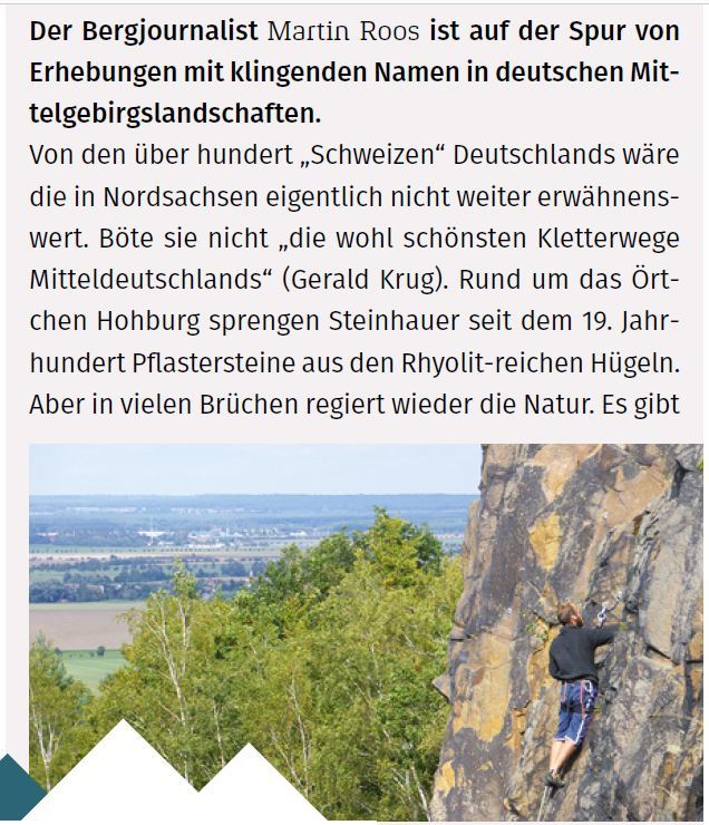 """Sachsens Rhyolit-Hochburg in der """"Hohburger Schweiz"""""""