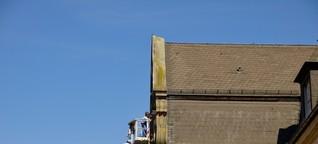 Überwachungskameras am Alten Messplatz werden montiert