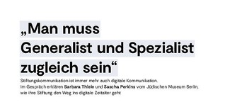 """""""Man muss Generalist und Spzialist zugleich sein"""" – ein Interview"""