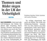 Thomsen und Rüder siegen in der Landesmeisterschaft der Vielseitigkeit