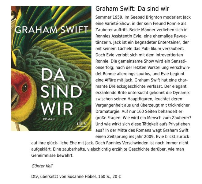 """Rezension von Graham Swifts """"Da sind wir"""""""