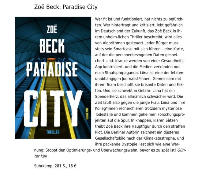 "Rezenision von ZoeBecks ""ParadiseCity"""