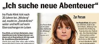 """Ina Paule Klink hört bei """"Wilsberg"""" auf, macht aber beim """"Zürich-Krimi"""" weiter"""