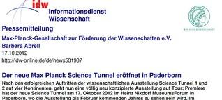 Kurator des Moduls Materie des Max Planck Science Tunnel 3.0